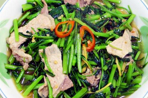空心菜炒肉片的做法