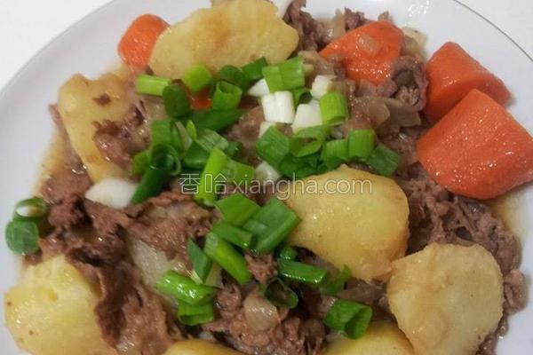 马铃薯炖牛五花的做法