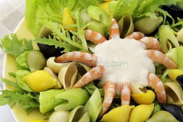 大虾贝壳面沙拉的做法