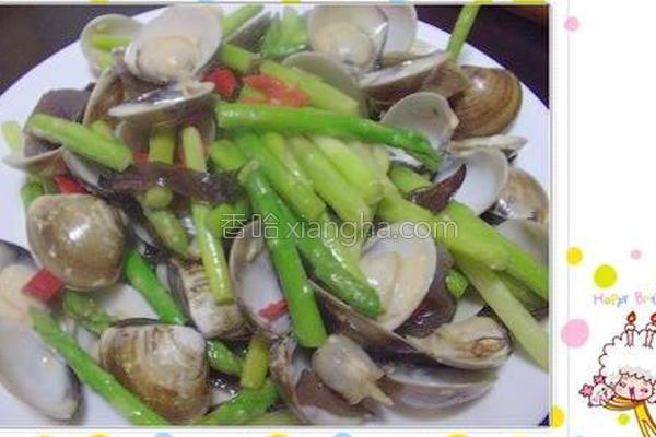 蛤蜊炒芦笋的做法