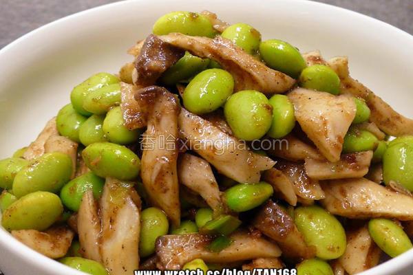 沙茶毛豆炒菇丝的做法
