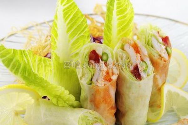 米纸松叶蟹鲜蔬卷的做法