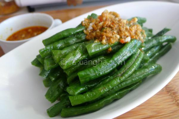 长扁豆佐鱼卵辣椒的做法