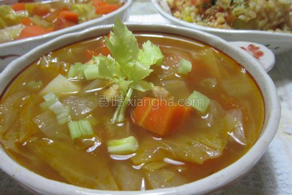番茄鸡肉蔬菜汤的做法
