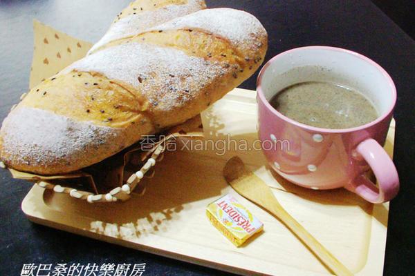 芝麻欧风面包的做法