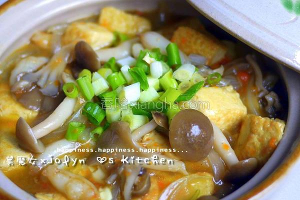 菇菇蟹黄豆腐煲的做法