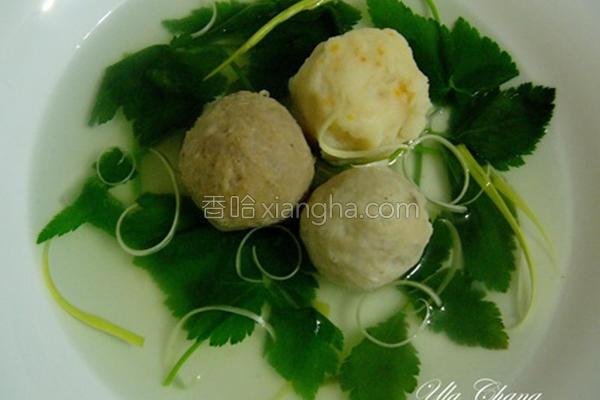 鸭儿芹综合丸子汤的做法