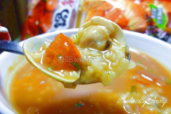 番茄蛤蜊砂锅粥的做法