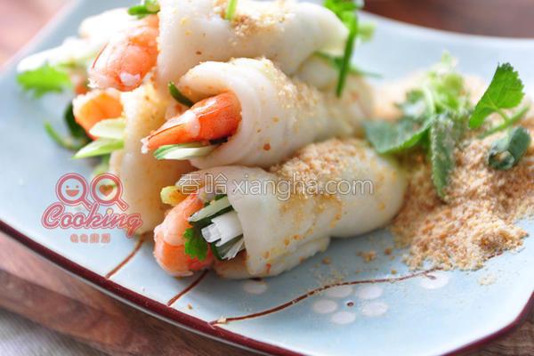 虾仁鲜蔬麻糬卷的做法