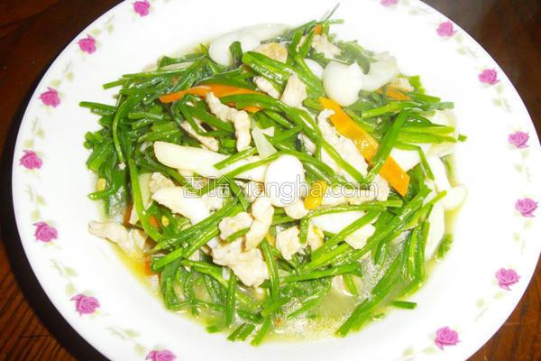水莲炒肉丝的做法
