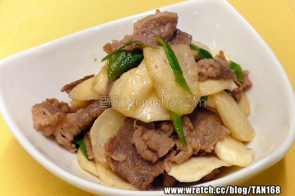 葱爆牛肉茭笋片的做法