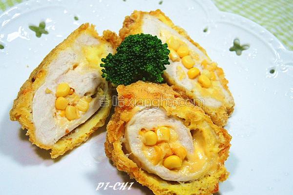 玉米起司鸡肉卷的做法