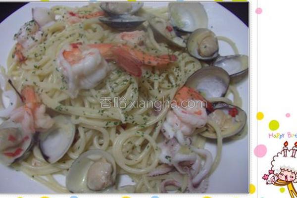 香蒜海鲜意大利面的做法