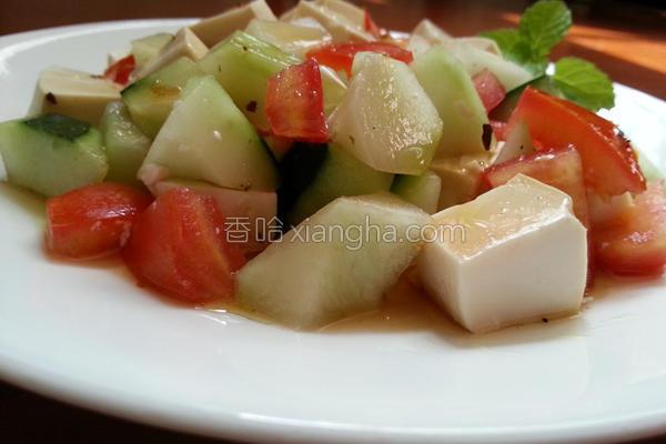 凉拌茄瓜豆腐的做法