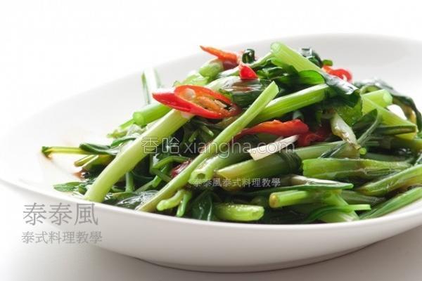 虾酱炒空心菜的做法