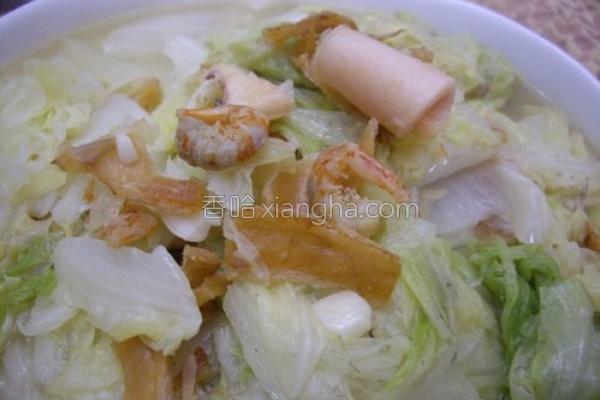 大白菜炒三鲜的做法
