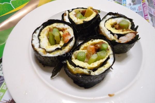 海苔芦笋虾蛋卷的做法