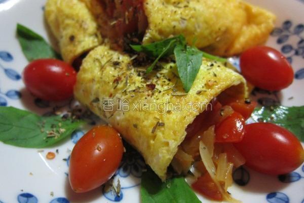 塔香番茄洋葱蛋卷的做法