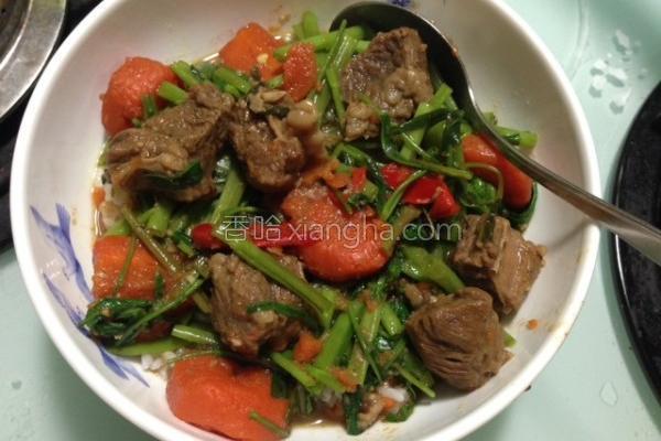 空心菜牛腩烩饭的做法