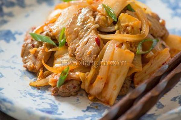 泡菜炒肉片的做法