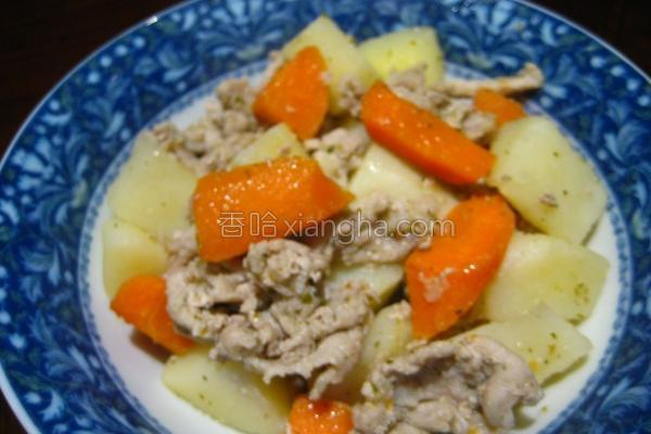 洋芋红萝卜豚肉烧的做法