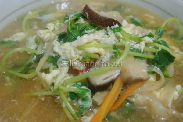 豌豆苗酸辣汤的做法