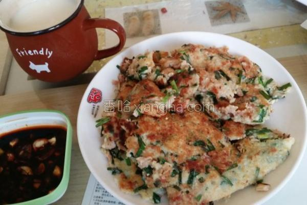 豆渣韭菜鲜肉煎饼的做法