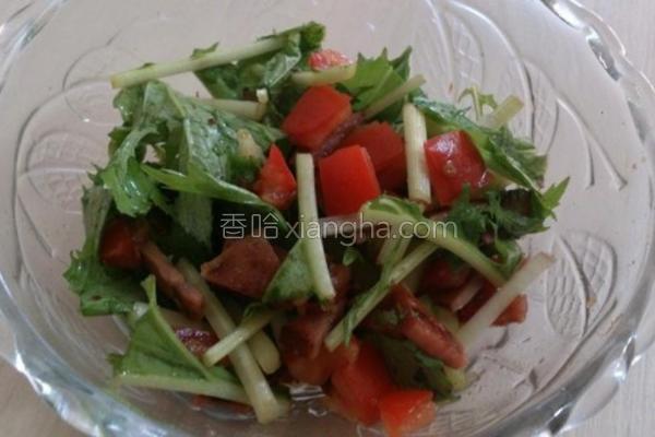 水菜火腿番茄沙拉的做法