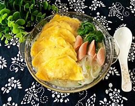 菠菜蛋饺粉丝汤