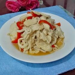 白玉菇炒鸡脯