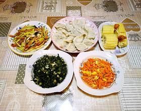 昨天的晚餐,粗粮和野菜为主😊😊[图]