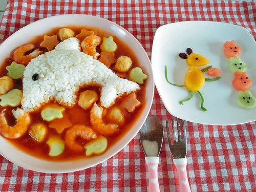 给宝宝做的早餐,米饭一口没吃拼盘全吃光啦