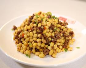 肉沫炒黄豆