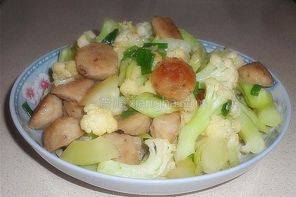 香菇肉丸炒菜花的做法