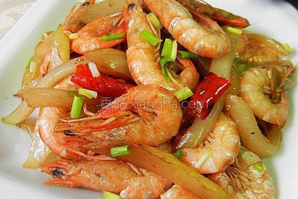 剥杆菜炒毛虾的做法