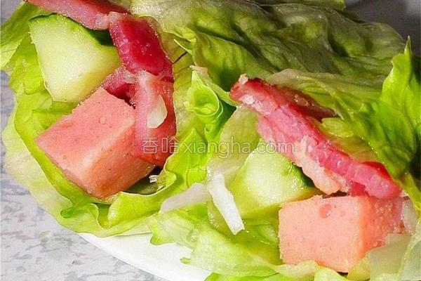 培根火腿生菜卷的做法