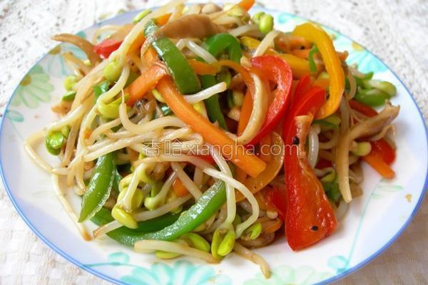 五花黄豆芽菜的做法