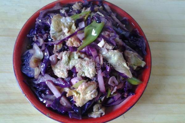 紫甘蓝炒鸡蛋的做法