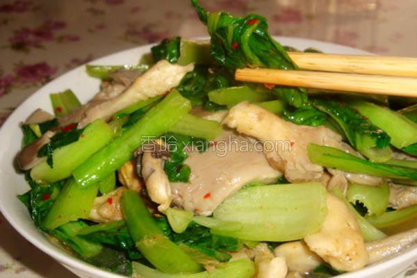 油菜平菇的做法