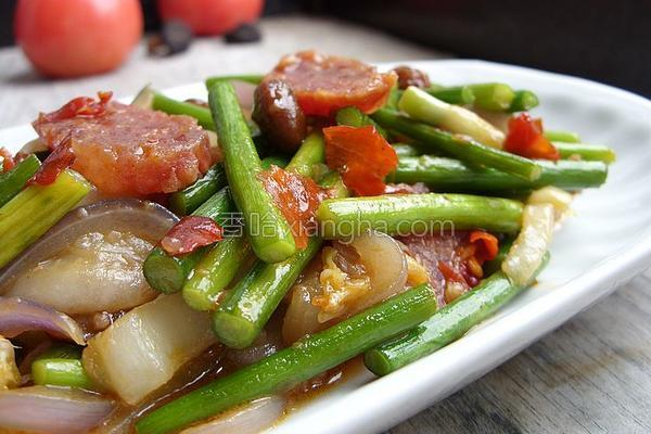 双酱蒜苔杂菜的做法