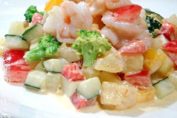 鲜虾果蔬沙拉的做法