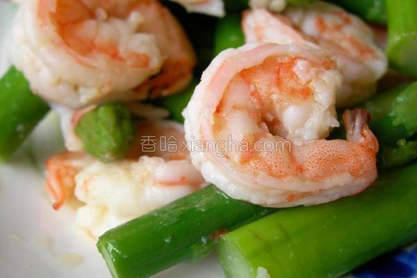 芦笋拌虾仁的做法