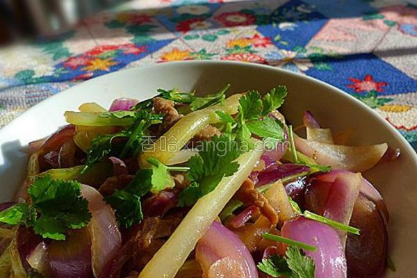 肉丝炒双蔬的做法
