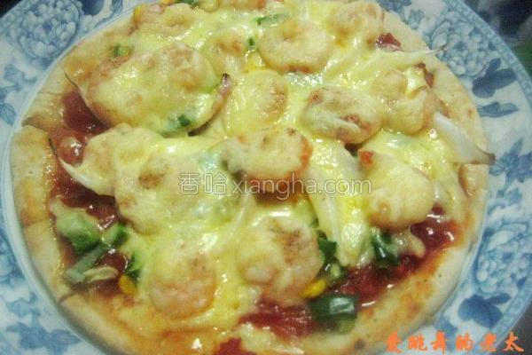 虾仁杂蔬比萨的做法