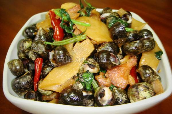紫苏酸笋炒石螺的做法