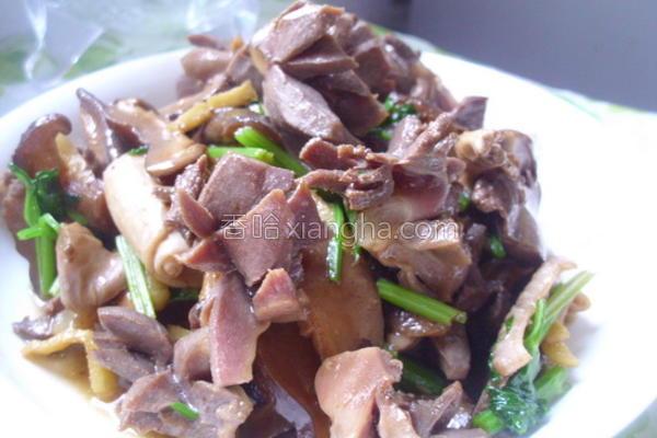 香菇炒鸭肾的做法