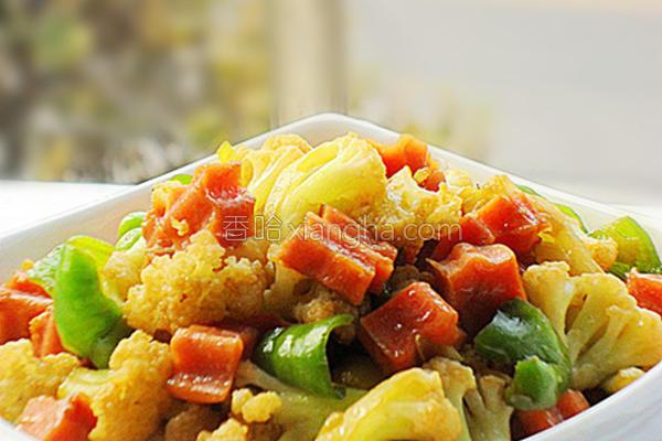 火腿炒菜花的做法