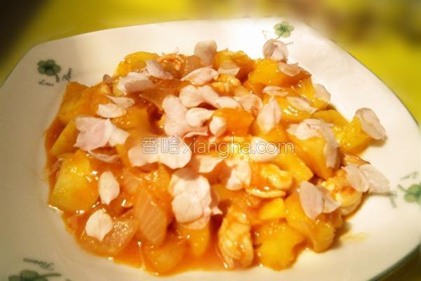 菠萝桃花虾的做法