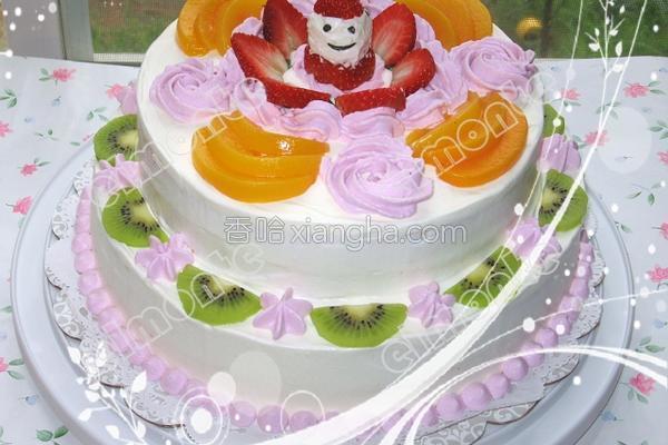双层水果蛋糕的做法