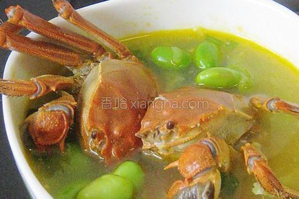 河蟹毛豆汤的做法